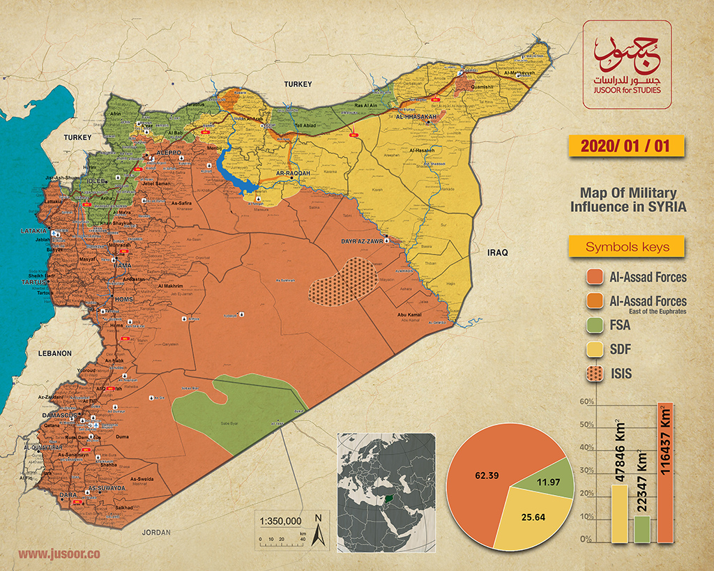 Map Of Military Influence In Syria 01 01 2020