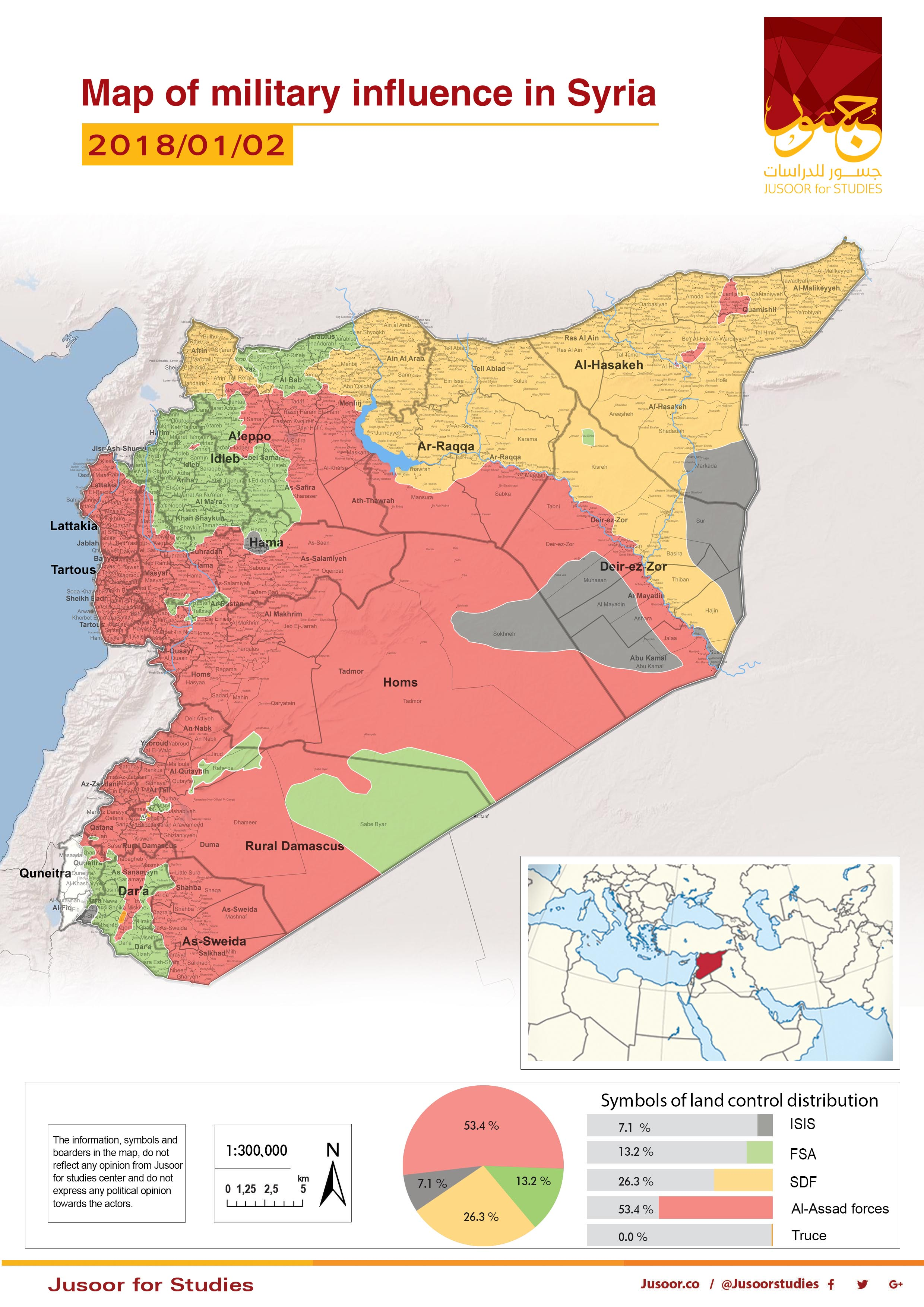Map Of Military Influence In Syria - Syria interactive map